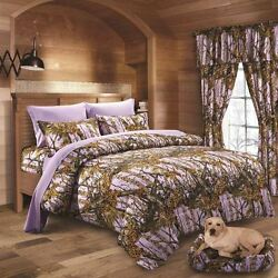 22 PC LAVENDER CAMO QUEEN!! COMFORTER SHEETS 3 CURTAIN SETS!! CAMOUFLAGE BEDDING