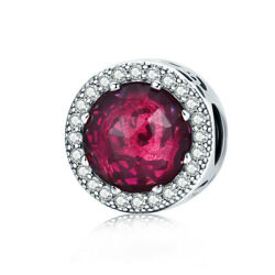 Radiant Hearts 925 Sterling Silver Charms Bead with Cerise Crystal