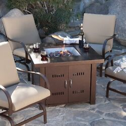 Outdoor Fireplace Table Propane Gas Fire Pit Patio Dinner Coffee Bronze Square