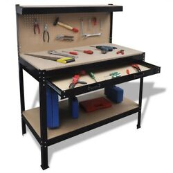vidaXL Workbench w Pegboard and Drawer Steel Table Garage Workshop Storage
