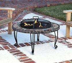 Outdoor Portable Large Round Stone Fire Wood Pit - Cover W Copper Ring Accents