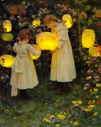 Japanese Lanterns by Luther E Van Gorder Giclee Canvas Print Repro $34.99