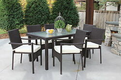 Outdoor Patio Wicker Dining Recessed Glass Table Chairs Set 7pc Cushion Baker
