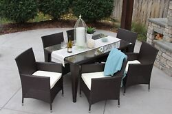 7PC Outdoor Patio Rattan Wicker Furniture Cushioned Dining Table Chair Set New