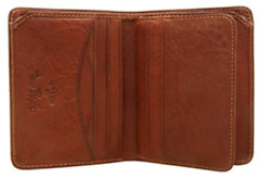 Trifold Wallet Men Italian Cow Leather Front Pocket Vertical with ID Window
