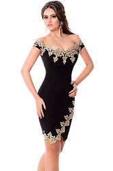Gold Embroidery Embellished Black Formal Dress Sleeveless Women Size L