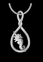 Seahorse spinner - pendant necklace in SOLID SILVER by My-Wishbone jewellery