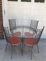 VTG MCM Umanoff Grenada Iron Patio Kitchen Dining Set Table 4 Chairs High Back