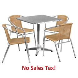 Outdoor Table Set Dining Rattan Chairs Chat Patio Bistro Garden Metal Furniture