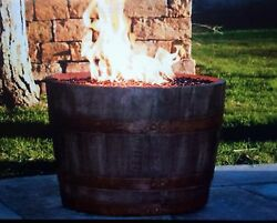 C1013-LP  Portable Wine Barrel Fire Pit - Rust - LP Propane Patio