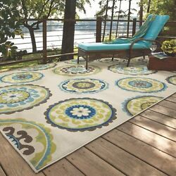 Large Indoor Outdoor Area Rugs Multi Colors 5 x 8 Ivory Green Floral Carpet NEW