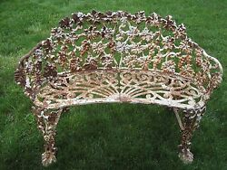 Antique Cast Iron Grape Vine Garden Bench