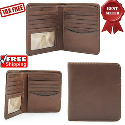 Mens Italian Cow Leather Classic Hipster Bifold Wallet & ID Window 4.25x4.75x.5