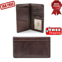 Mens Italian Cow Leather Bifold with Combination Checkbook ID Wallet 3.5x6.5x.50