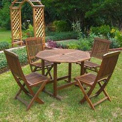 Outdoor Patio Set Dining Furniture Table Lounge 4 Foldable Chairs Wood
