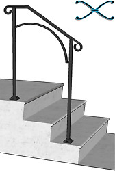 Iron X Handrail Arch #2 Rail  RAILING Fits 2 or 3 Step