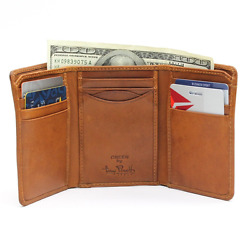 Classic Trifold Wallet with ID Window Mens Italian Cow Leather