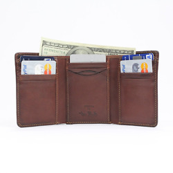Classic Trifold Wallet with ID Window for Mens Italian Cow Leather