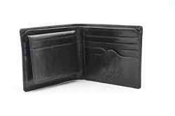 Mens Italian Bull Leather Bifold Wallet with Removable ID Card Case