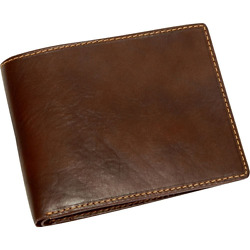 Mens Italian Bull Leather Classic Bifold Credit Card Wallet