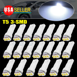 20x Super Bright White 3SMD T5 Wedge Led Dash Gauge Instrument Panel Light Bulb $6.49
