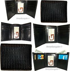 Lot of 6 Italian Style Woven Printed Leather Man's Black Trifold wa