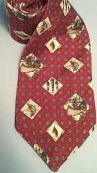 Fish Boat Bait 100% Silk Field & Stream Tie - Red wsienna images - polka dots