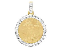 22K Yellow Gold Coin Lady Liberty One Ounce Real Diamond Pendant 7 34 Ct 2.1
