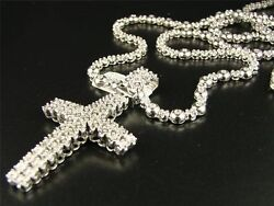 1 Row Men#x27;s Rosary Chain with Cross in Natural Diamond White Gold Finish 34quot; $550.00