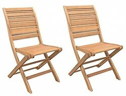 Acacia Wood Folding Chairs Set of 2 Patio Chair Seat Pool Deck Garden Outdoor