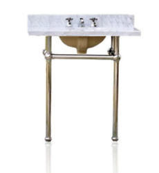 """Antique Deco Inspired 36"""" Bath Console Sink Vanity Chrome Carrera Marble Package"""
