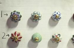 Vintage Door Ceramic Knob Wardrobe Drawer Handle Pull 24 Pc Cupboard Lot PAG 288
