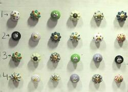 Vintage Ceramic Knob Wardrobe Drawer 24 Pc Handle Pull Cupboard Lot PAG 275