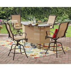 Outdoor 4 Seat Patio Counter Height Swivel Seating Dining Bar Furniture Tan Set