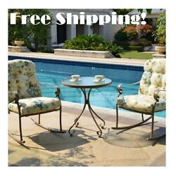 Rocking Outdoor Bistro Set White Patio Furniture 3 Piece Deck Chair Coffee Table