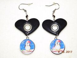 NEW Snap Button metal chunk Charm Heart PENGUIN snap button EARRINGS 18-19MM