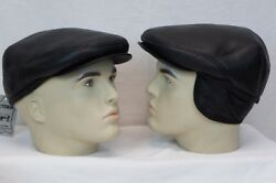 Black 100% LEATHER Driving Cap Newsboy Ivy Hat Golf Gatsby Flat Cabbie M 3XL NWT $23.40