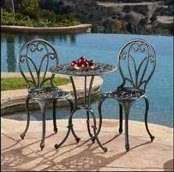 Cast Aluminum Patio Furniture Table And Chairs 3Pc Outdoor Dark Gold Bistro Deck