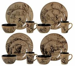 Cabin and Lodge Rustic Decor Casual Dinnerware Sets for 4-8-12 Mossy Oak Kitchen