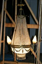 ANTIQUE  FRENCH LARGE GILDED BRONZE & CRYSTAL CHANDELIER  STUNNING CIRCA 1880