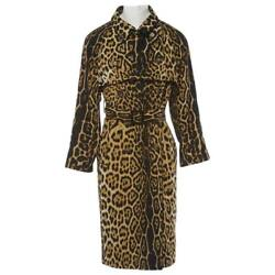 LEATHER TRIM LEOPARD-PRINTED TRENCH COAT TOM FORD YVES SAINT LAURENT 34 FR 38 IT