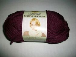 1 Skein Lion Brand Yarn Superwash Merino Cashmere Worsted 4 Wine Maroon Ck Qty