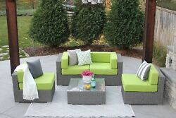 5pc Gray Wicker All Weather Patio Outdoor Sectional Sofa Furniture Rattan NEW