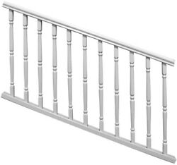 White Stair Staircase Rail Railing Kit Colonial Spindles Vinyl Durable Veranda