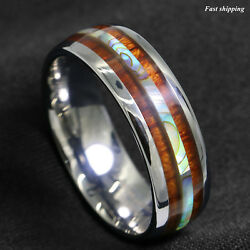 86mm Tungsten carbide ring Koa Wood Abalone ATOP Wedding Band Ring Men Jewelry