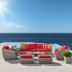 RST Brands Cannes Sunset Red 8-Piece Outdoor Sofa and Club Chair Conversation