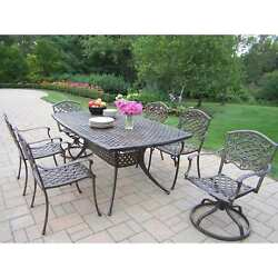 Oakland Living Oxford Mississippi 7-Piece Outdoor Dining Set with Swivel Chairs