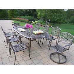 Oakland Living Mississippi 9-Piece Outdoor Dining Set with Swivel Chairs