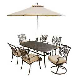 Hanover Outdoor Furniture Traditions 7-Piece Outdoor Dining Set with Umbrella