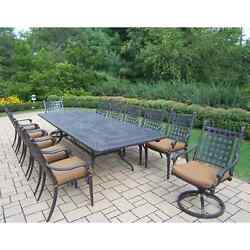 Oakland Living Belmont 13-Piece Outdoor Expandable Dining Set with Sunbrella